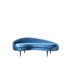 Hans Upholstered with Curve Navy Blue Sofa