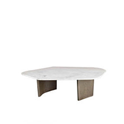Olney Wooden With Gray Marble Coffee Table