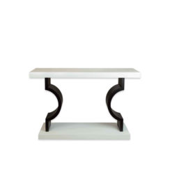 Silviano Oak Cream Console Table With Curved Legs