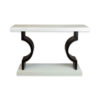 Silviano Oak Cream Console Table with Curved Legs 1