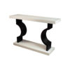 Silviano Oak Cream Console Table with Curved Legs 2