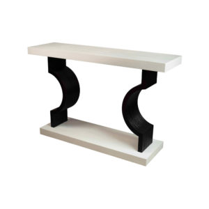 Silviano Oak Cream Console Table With Curved Legs Side
