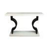 Silviano Lacquer Cream White Wood Console Table 1