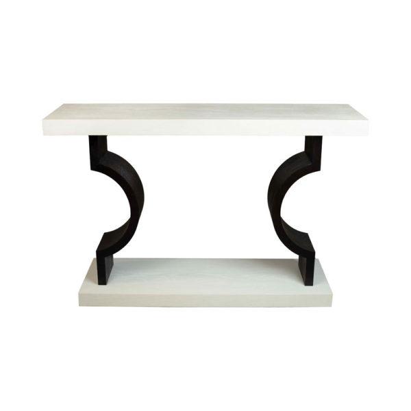 silviano Lacquer Cream White Wood Console Table