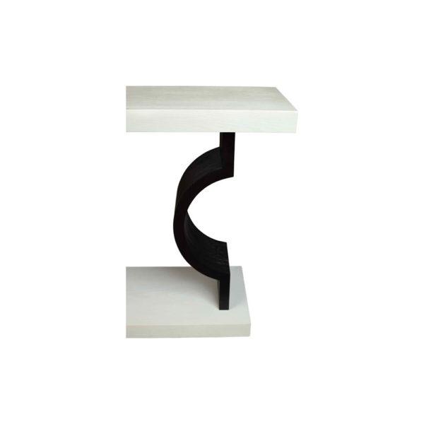 silviano Lacquer Cream White Wood Console Table Details