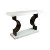 Silviano Lacquer Cream White Wood Console Table 2