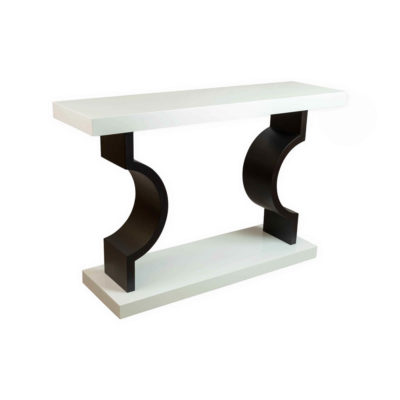 silviano Lacquer Cream White Wood Console Table Side