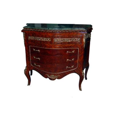 Elizabeth Antique Wooden Chest Marble Top with Veneer Inlay