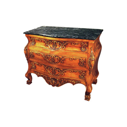 Hand Carved 3 Drawers Chest with Marble Top B