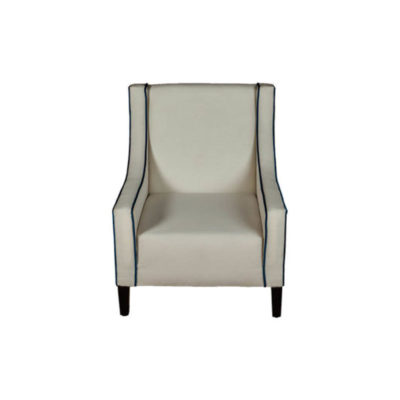 Jesse Upholstered Slope Arm Chair with Black Legs