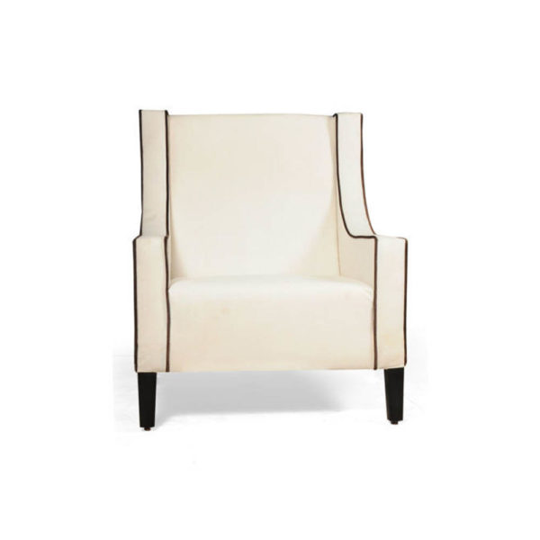 Jesse Upholstered Slope Arm Chair with Black Legs Front