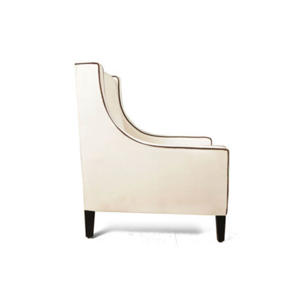 Jesse Upholstered Slope Arm Chair with Black Legs Right Side View