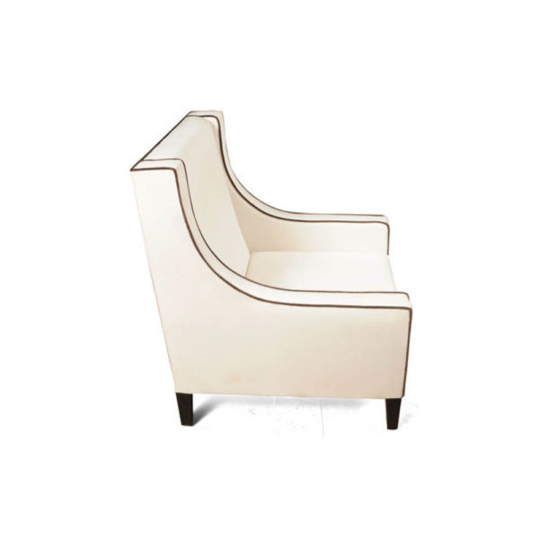 Jesse Upholstered Slope Arm Chair with Black Legs Side View