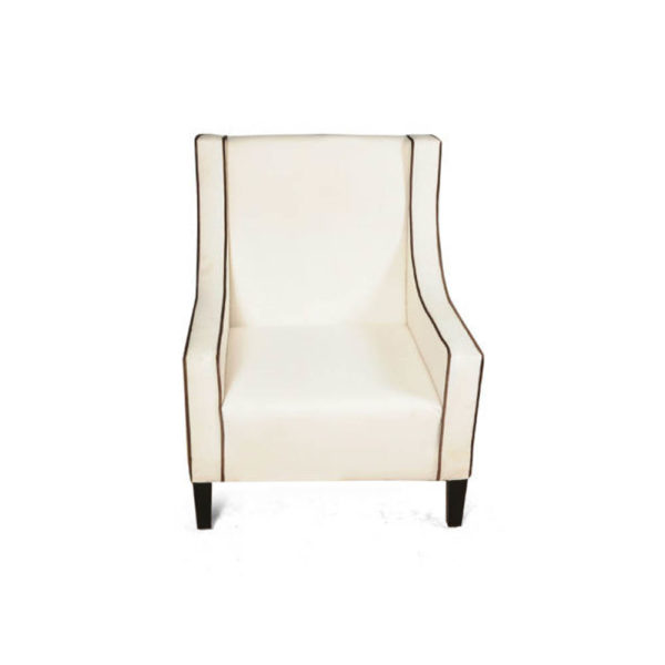 Jesse Upholstered Slope Arm Chair with Black Legs Top View