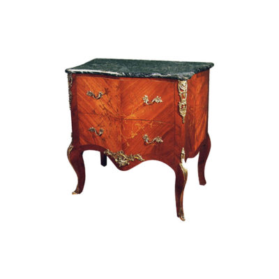 Wooden Chest of Drawers with Hand Carved Marquetry Veneer Inlay and Marble Top