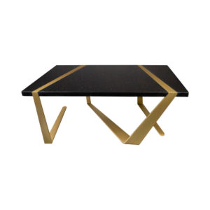 Anais Rectangular Marble and Brass Coffee Table