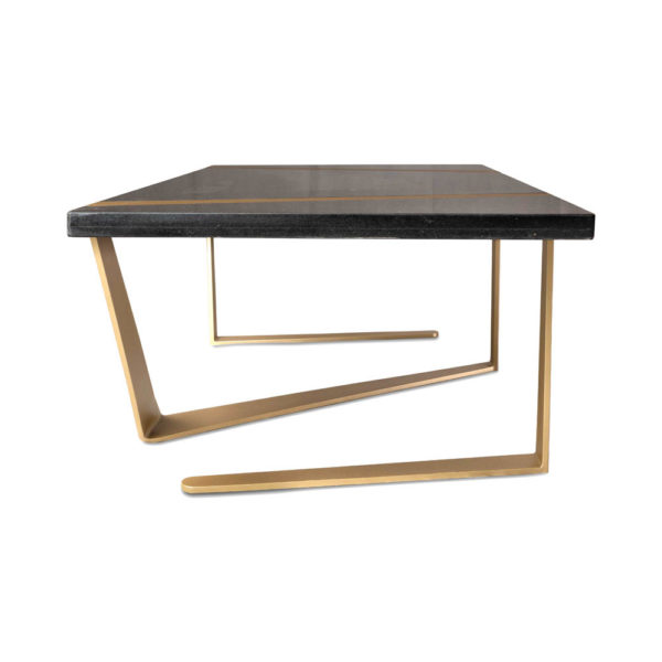 Anais Rectangular Marble and Brass Coffee Table Side