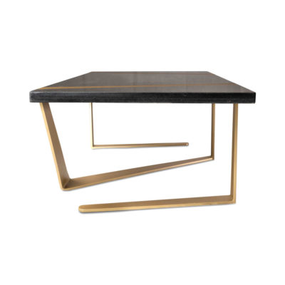 Anais Rectangular Marble and Brass Coffee Table Side View