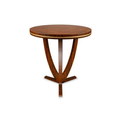 Austin Round Three Legged Side Table with Brass Inlay