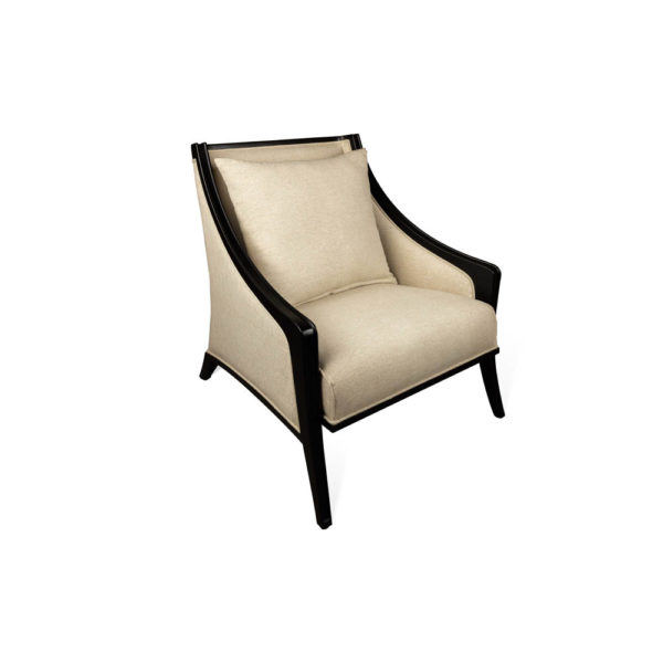Chord Beige Linen Armchair with Wooden Frame and Cushion