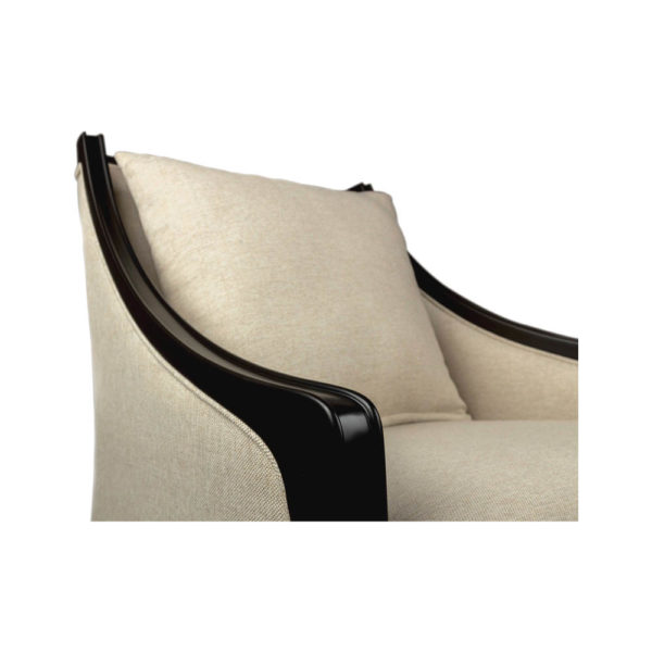 Chord Beige Linen Armchair with Wooden Frame and Cushion Detailed