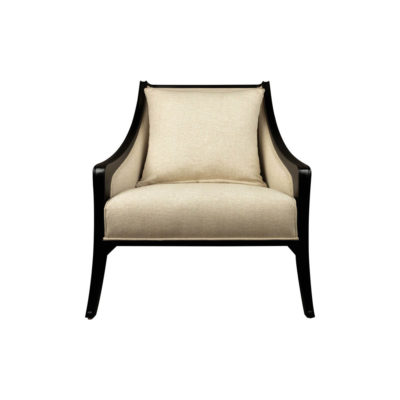 Chord Beige Linen Armchair with Wooden Frame and Cushion Front