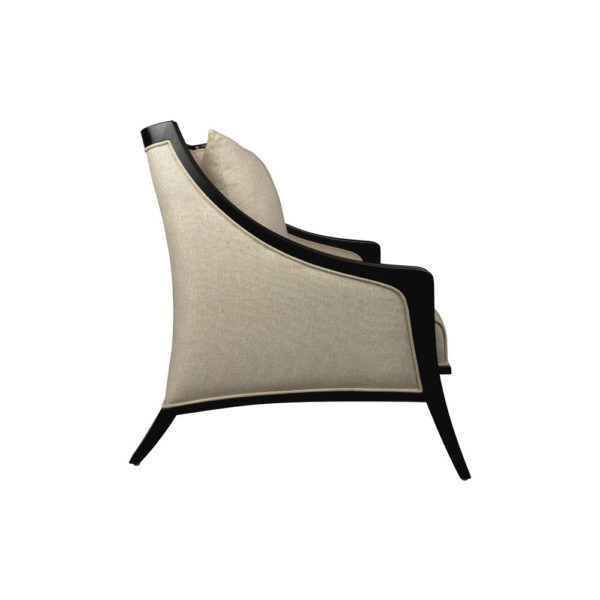 Chord Beige Linen Armchair with Wooden Frame and Cushion Side