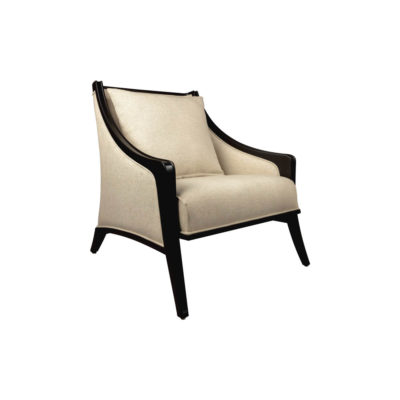 Chord Beige Linen Armchair with Wooden Frame and Cushion Side View