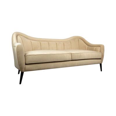 Nisha Striped Velvet Off White Sofa