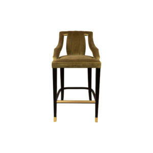 Shelley Velvet Bar Stool with Stainless Steel Inlay