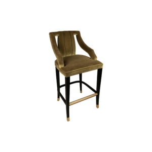 Shelley Velvet Bar Stool with Stainless Steel Inlay Side View
