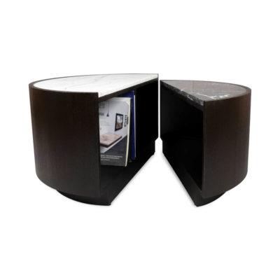Trujillo Modern Black Coffee Table with Marble Top