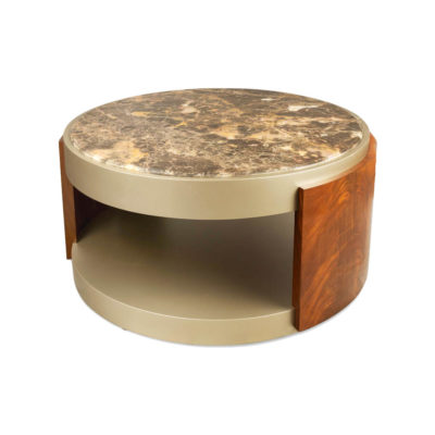 Tully Round Beige Marble Coffee Table with Shelf